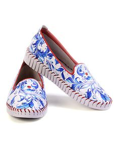 Another great find on #zulily! White & Blue Floral Moccasin Sneaker #zulilyfinds