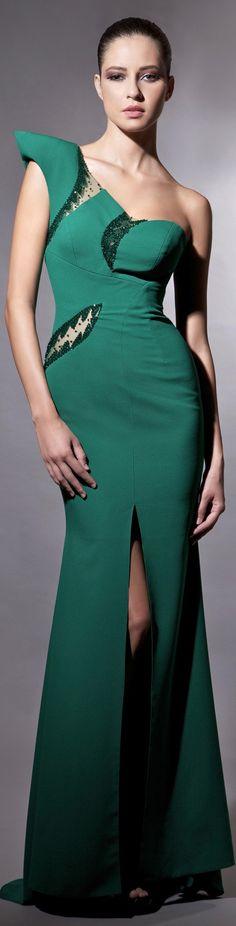 Tarek Sinno haute couture. Emerald maxi dress. women fashion outfit clothing style apparel @roressclothes closet ideas