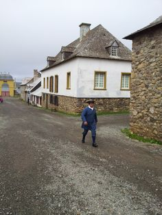 Chef Vicky walks the street in Fortress Louisbourg National Historic Site