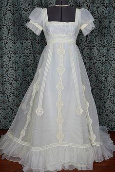 Short Sleeve 1970s Vintage White Empire Wedding by VintageWedding1, $375.00