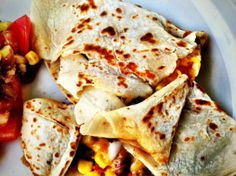 Pinto bean and corn quesadillas w/Udi's Plain Tortillas