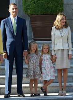 Royal Heirs Around the World...... Prince Felipe of Spain, Princess Leonor of Spain, Princess Sofia of Spain and Princess Letizia of Spain.  Aug. 19, 2011 in Madrid, Spain. Prince Felipe  is the next heir to the throne, followed by his daughters, Leonor and Sofia. (Fotonoticias/Getty Images)