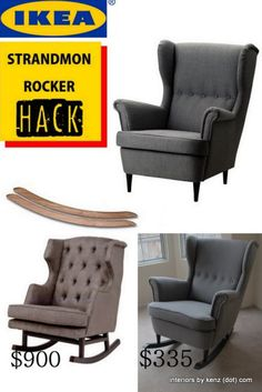 I was already considering getting this chair for our bedroom! Ikea Strandmon Hack into wingback rocker Ikea chair becomes cute rocking chair for baby nursery, grey upholstery with button tufting and DIY rocker base with purchased base. Chaise Diy, Chaise Ikea, Ikea Chair, Diy Chair, Nursery Rocker, Ikea Kids Chairs, Baby Rocker, Ikea Nursery, Bedrooms