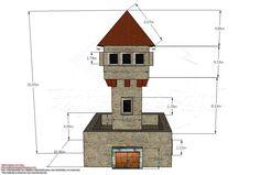 Medidas de la torre de vigilancia de papel para wargamers
