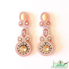 Items similar to Soutache Peach Earrings- Swarovski Crystal Statement Earrings - Nude Collection- Bridal Earrings on Etsy Diy Earrings, Bridal Earrings, Chandelier Earrings, Gemstone Earrings, Statement Earrings, Gold Earrings, Clay Jewelry, Boho Jewelry, Bridal Jewelry