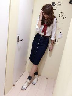 erikaさんのデニムスカート「GU 」を使ったコーディネート