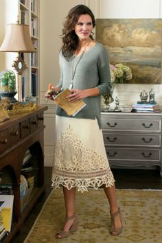 Limoges Skirt - Lace Embroidered Skirt, Cotton Voile Skirt   Soft Surroundings