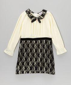 Ivory Bow Pleated Dress - Toddler & Girls #zulily #zulilyfinds