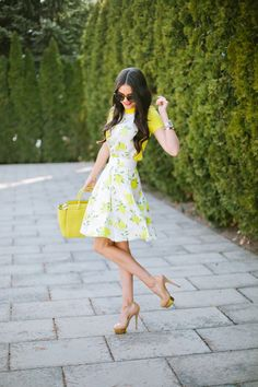 I am totally in love with this dress! Kate Spade NY Lemon dress via Mothers Dresses, Girls Dresses, Cute Spring Outfits, Moda Boho, Glamour, Charlotte Olympia, Women's Fashion Dresses, Fashion Heels, Feminine Style