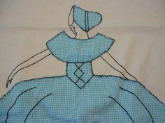 Vintage appliqued pillowcase Sun Bonnet Sue by SouvenirAndSalvage