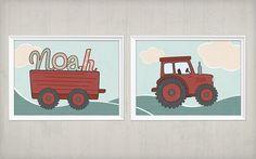 **NEU! 2erSet Traktorbild mit Anhänger und Name des Kindes**  Aus eigener Erfahrung musste ich feststellen, dass kleine Jungs ganz vernarrt sind in alles was vier Räder hat und nach Traktor,...