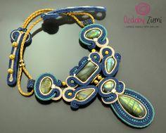 Navy blue labradorite soutache necklace Landan big gemstone gold beige labradorte handcrafted collar unique blue necklace statement Necklace by OzdobyZiemi on Etsy