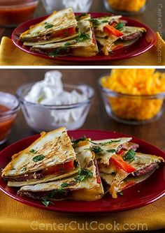 Looking for a way to use up leftover STEAK? Steak Quesdailllas are the perfect option! Tender steak, gooey cheddar cheese, bright red peppers and a little cilantro! Delish! Great for a simple supper or even tailgating!