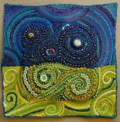 """Starry Night Redux  6 3/4"""" x 6 7/8""""  A moonstone cabochon began this piece which started as a simple landscape but turned into so much more. Machine and hand embroidery carry out the spirals to the very edge of the piece. Czech glass seed and bugle beads, sequins, pressed glass beads.  Sold  ©2006 Andrea Stern, all rights reserved.  Click here to e-mail Andrea about purchasing, questions or regarding a commmission. Or call 740-797-3026."""