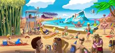 The final result of 3 weeks or intermittent artwork on a Tropical Hawaiian Beach scene painted in Photoshop. Beach Scene Images, Beach Scenes, Beach Cartoon, Beach Scene Painting, Beach Pictures, Hawaiian, Tropical, Artwork, Daily Cartoons
