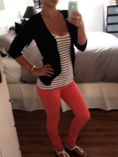 Coral pants and stripes :)