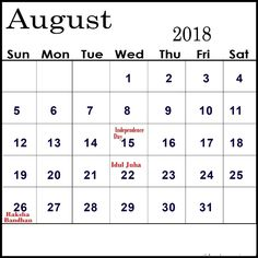 august 2018 calendar with holidays india latest hd pictures images and wallpapers