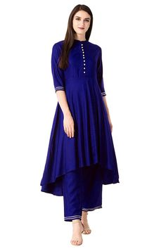 Rayon Kurta Set in Blue Dark Blue Suit, Dark Blue Pants, Simple Kurta Designs, Kurta Designs Women, Simple Indian Suits, Cotton Anarkali, Kurti Embroidery Design, A Line Kurta, How To Dye Fabric