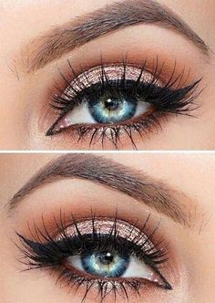 Atemberaubende Augen-Make-up Hacks! The post Atemberaubende Augen-Make-up Hacks! appeared first on makeup. Day Eye Makeup, Glitter Eye Makeup, Blue Eye Makeup, Eye Makeup Tips, Makeup Hacks, Smokey Eye Makeup, Glowy Makeup, Makeup Ideas, Beauty Makeup
