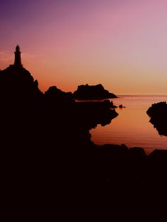 Corbiere Lighthouse at sunset, Jersey Channel Islands