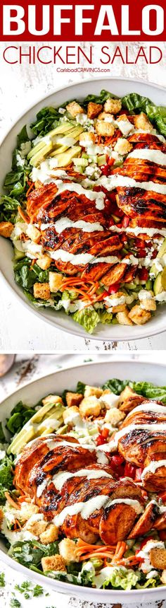 Buffalo Chicken Salad with Blue Cheese Cilantro Ranch (+Video!) Buffalo Chicken Salad with flavor bursting chicken and the most intoxicatingly delicious Blue Cheese Cilantro Ranch! The combo is out of this world! Perfect for lunch or dinner! Pollo Buffalo, Buffalo Chicken, Carlsbad Cravings, Cooking Recipes, Healthy Recipes, Pizza Recipes, Healthy Meals, Yummy Recipes, Rabbit Food