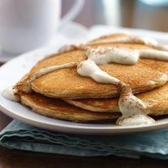 Cookie-inspired Snickerdoodle Pancakes with Warm Vanilla Sauce