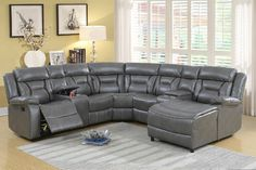 5 pc collette II grey gel leatherette sectional sofa with chaise and recliners. Features Left arm recliner chair with 2 drink consoles corner wedge 2 armless chairs and push back chaise. Sectional as shown measures x x Chaise L x D X 3 Living Room Grey, Living Room Sofa, Living Room Furniture, Sectional Sofa With Chaise, Reclining Sectional, Couch Set, Buy Chair, Armless Chair