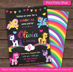 My Little Pony Birthday Invitation by printpartyshop on Etsy