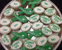 Donate Life Organ Donation Support Ribbon decorated Sugar Cookies by I Am the Cookie Lady