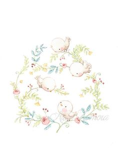 This Art Print BIRDS Shabby Chic Floral art. is just one of the custom, handmade pieces you'll find in our prints shops. Art And Illustration, Floral Illustrations, Bird Drawings, Cute Drawings, Art Floral, Floral Artwork, Watercolor Paintings, Original Paintings, Watercolor Paper