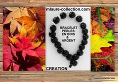 Bracelet perles bois & argent