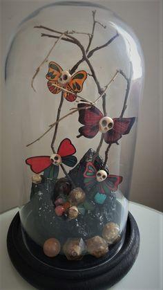 Halloween decoration skull butterfly display World Crafts, Snow Globes, Halloween Decorations, Skull, Butterfly, Display, Color, Home Decor, Floor Space