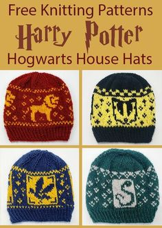 Free Knitting Pattern for Harry Potter Hogwarts House Hats - Beanies with fair i. - knitting hat , Free Knitting Pattern for Harry Potter Hogwarts House Hats - Beanies with fair i. Free Knitting Pattern for Harry Potter Hogwarts House Hats - Beani. Chapeau Harry Potter, Tricot Harry Potter, Harry Potter Hogwarts, Harry Potter Beanie, Harry Potter Characters, Harry Potter Crochet, Ravenclaw, Slytherin Snake, Knitting Patterns Free