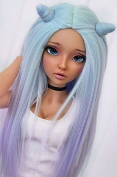 wig with magnetic hair horns (4arllin) Tags: alpaca doll tan wig moe bjd fairyland celine mnf minifee