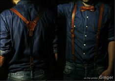 Leather suspenders men's suspenders leather braces by theOneBee