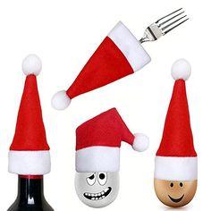 niceEshop(TM) Kit de 12 Pcs Pochettes à Couverts en Forme de Chapeau pour Décoration de Noël (Rouge et Blanc): Habiller des cadeaux de fête…