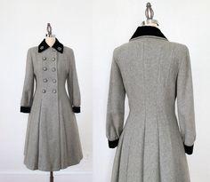 1940s Grey Wool Coat with Rhinestone and Velvet Detailing