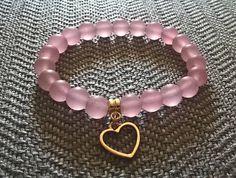 Pastel Pink Mint White Mat Jadeite Bracelet witch Gilded Charm
