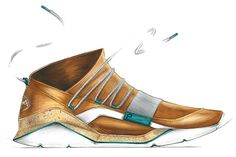 Gold shoes! Neat idea for someone who really wants to look fancy and stand out. Along with the metallic gold, the accents of teal throughout the design give the shoe an extra touch of color.
