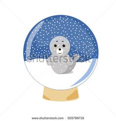 Baby seal snow-globe. Vector Christmas or New Year element for card or poster. Small seal on the snow in the snow-globe on the white background.