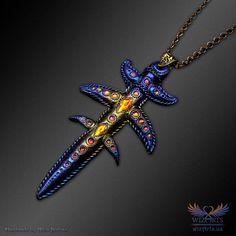 *Mystic Fire Sword*, An Iridescent, Magical, Unique Art Necklace - wizArts Blue Pigment, Art Necklaces, Polymer Clay Necklace, Unique Art, Wearable Art, Iridescent, Jewelry Art, Sword, Mystic