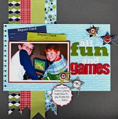 All Fun and Games Layout by Aphra Bolyer using Jillibean Soup's papers (Alphabet Soup, Soup Staples, Spotted Owl Soup, Homemade 6 Bean Soup), Hearty Barley Coordinating Cardstock Stickers, Corrugated Alphas, Cool Beans, and Bean Stalks (via the Jillibean Soup blog).
