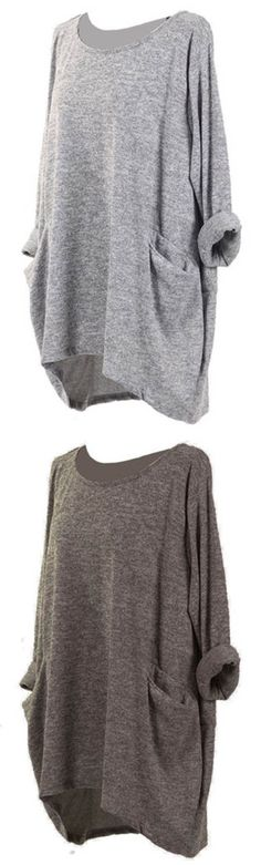 UP TO 47% OFF! Casual Pure Color Pockets Loose Long Sleeve Blouses For Women. SHOP NOW!