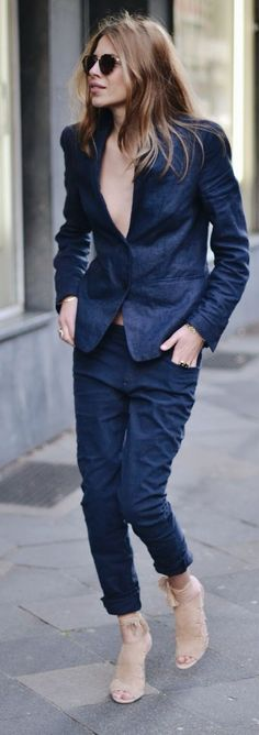 Navy Suit Streetstyle by MAJA WYH