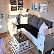 Living Room - Cabane Tiny Cabin (I love this! Tiny Living Rooms, Small Apartment Living, Tiny House Living, Home Living Room, Living Room Designs, Cozy House, Living Spaces, Small Room Design, Tiny House Design