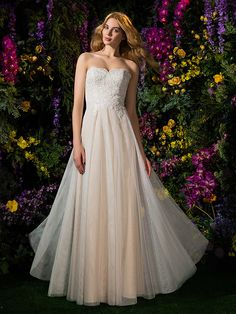 LOVE! Would maybe rather have chiffon skirt, though.   A-line Strapless Lace And Tulle Floor-length Wedding Dress (2148895) | LightInTheBox