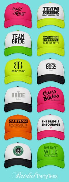 Custom trucker hats for your bachelorette party! Vegas Bachelorette, Bachelorette Party Planning, Bachelorette Shirts, Bacherolette Party, Neon Party, Party Hats, Party Ideas, Bridesmaid Duties, Wedding Bridesmaids