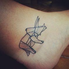 Origami dinosaur tattoo : Brooklyn. Done by Matt C. Ellis @ Triple Diamond Tattoo, New York.