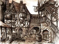 Medieval Village Drawing 7