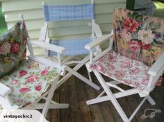 Stunning Shabby chic restored/fabric covered Directors chairs